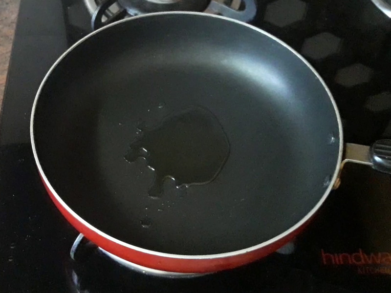 cooking oil in the pan for heating