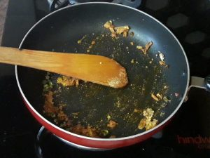 spices are cooking in the oil